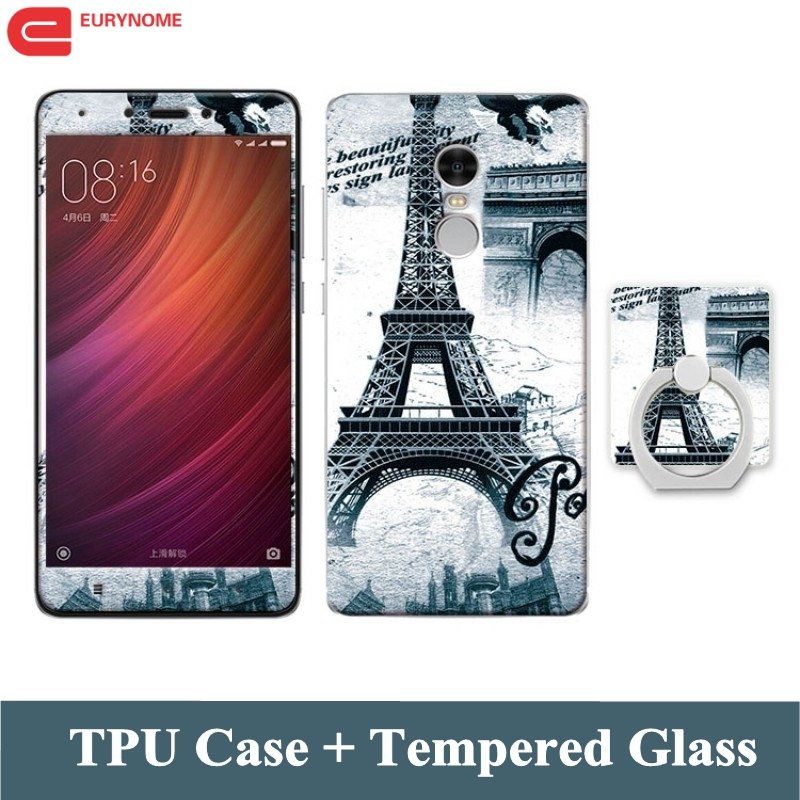 Case for Xiaomi Redmi Note 7 Pro 4X Case Cartoon Tempered Glass Glass Finger մատանի փափուկ ծածկով Xiaomi Redmi Note 4 Note 7 Case
