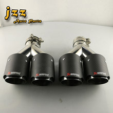 1SET dual outlet akrapovic car exhaust pipe Slant And exhaust Pipe Muffler Tail tips with clamp