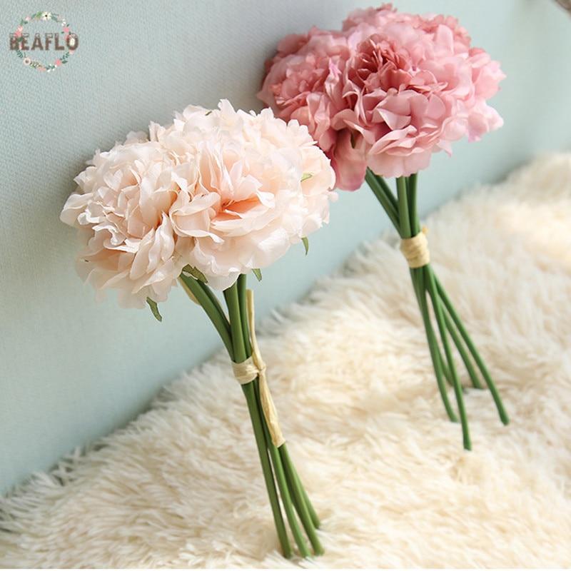 1 Csomó Hortenzia Pünkösdi rózsa csokor Mesterséges virágok Virágárusítás DIY otthoni esküvői dekoratív 2 színben