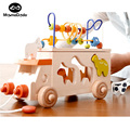 Ребенок Раннего Обучения Монтессори Perles Деревянный Вокруг Бусины Животных Автобус Детские Игрушки Дети Обучения Игре Малыш Строительные Блоки