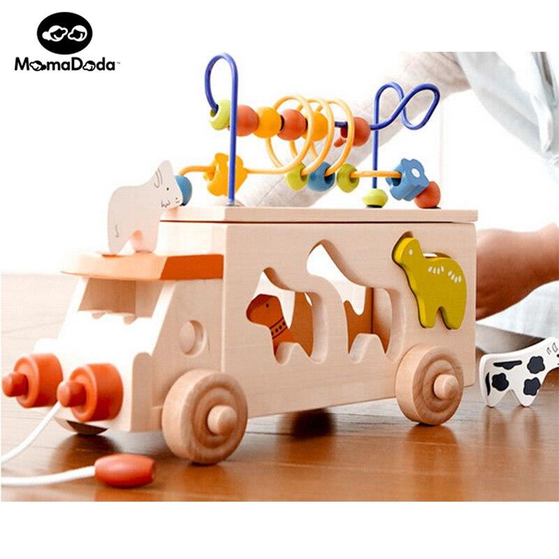 Enfant début éducatif Montessori Perles en bois autour de Perles Animal Bus jouet bébé enfants apprentissage jeu bambin blocs de construction