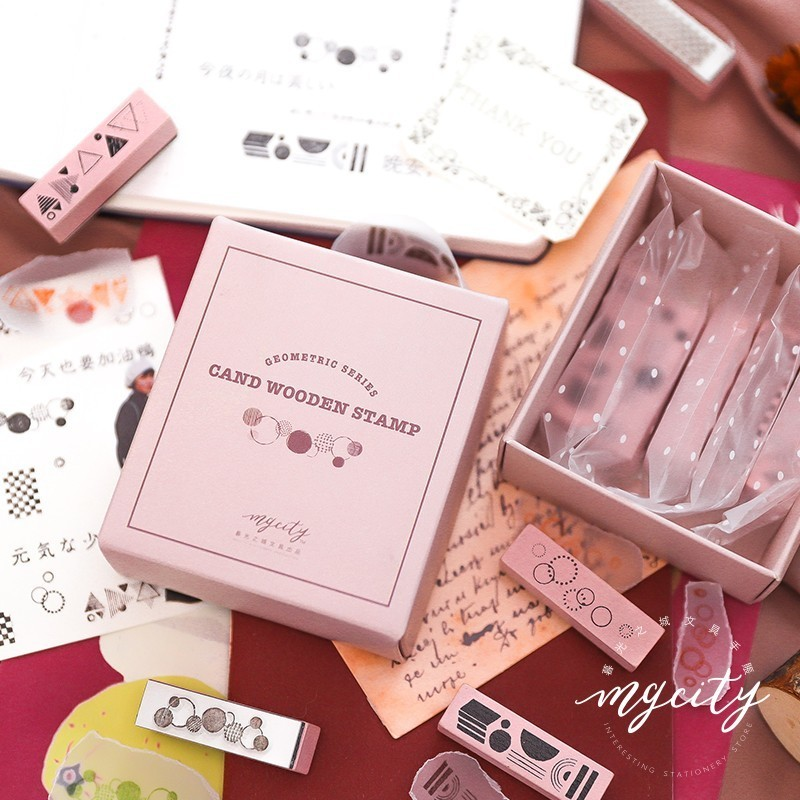 5pcs/set Candy Series Vintage Decoration Stamp Wooden Rubber Stamps For Scrapbooking Stationery DIY Craft Standard Stamp