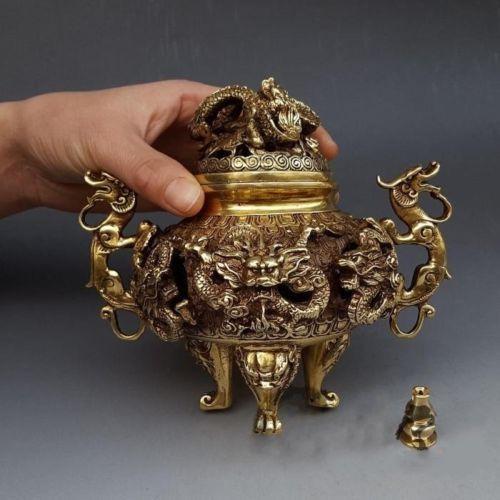 """7/"""" Chinese Brass Gilt 9 Dragon Incense Burner Censer Incensory Burner Statue"""