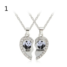 "2 pcs High quality Broken Heart ""Best Friends"" Letter Panda Crystal Pendant Necklace Friendship colgantes mujer moda"