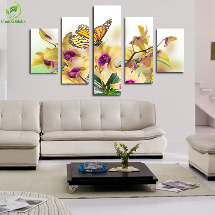 Living Room Canvas Paintings Aliexpresscom Buy 5 Panel Large Modern Flower Butterfly Canvas