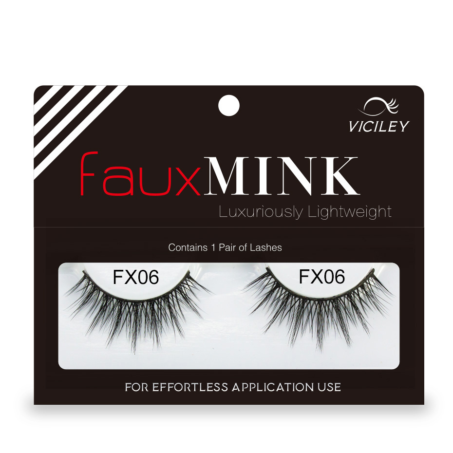 Genailish Fake 3d mink lashes natural false eyelashes long black soft makeup 3d eyelash extension faux mink eyelashes FX06