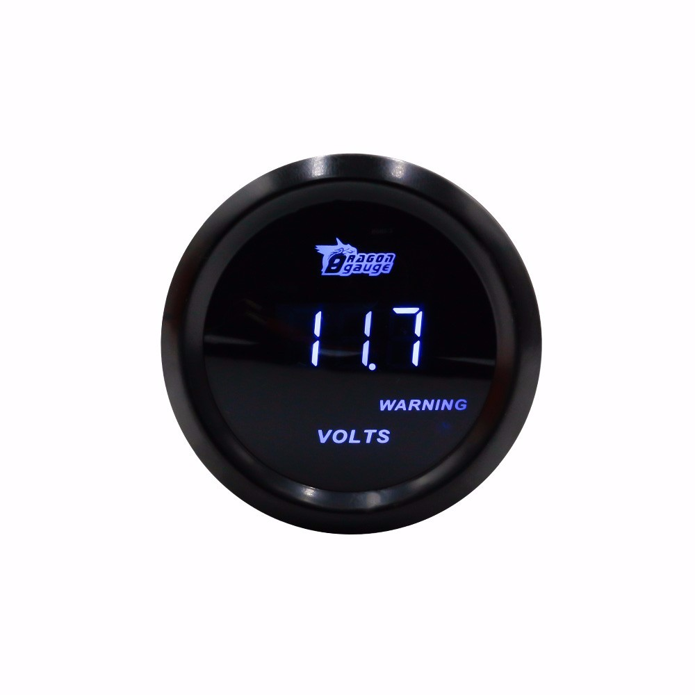 Digital Voltage Meter Gauge for Auto Car 52mm 2in LCD 0~15V Warning Light Black