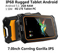 Original IP68 Resistente 4G LTE Tablet PC Androide 5.1 1 Cornlng SIM 7.0 Pulgadas Gorila IPS 1280*800 2 GB RAM Impermeable a prueba de golpes teléfono