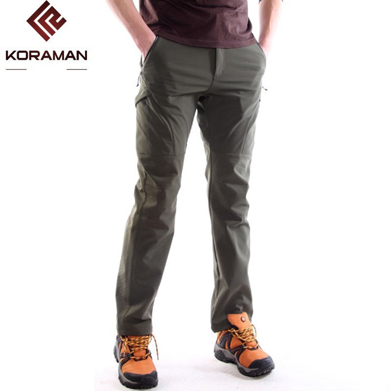 KORAMAN men Thick winter Warm Fleece Softshell Pants Fishing Camping Hiking Climbing Skiing Trousers Waterproof Windproof 229 men warm autumn winter softshell hiking pants waterproof windproof outdoor trousers sports camping trekking fishing pants rm044