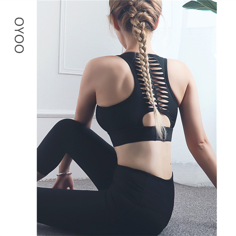 Oyoo Super soft 2pcs yoga set for women strappy back sports bra high waist push up sport leggings fitness clothing sport suit