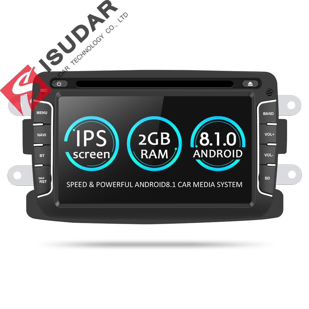 Isudar Voiture lecteur Multimédia Android 8.1 Automotivo 2 Din Pour Dacia/Sandero/Chiffon/Renault/Captur/ lada/Xray 2/Logan 2 SPG RAM 2g