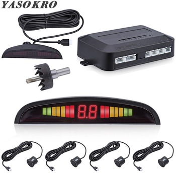 Car Parktronic LED Parking Sensor Kit With 4 Sensors Backlight Display Reverse Backup Radar Monitor Detector System 12V 6 Colors