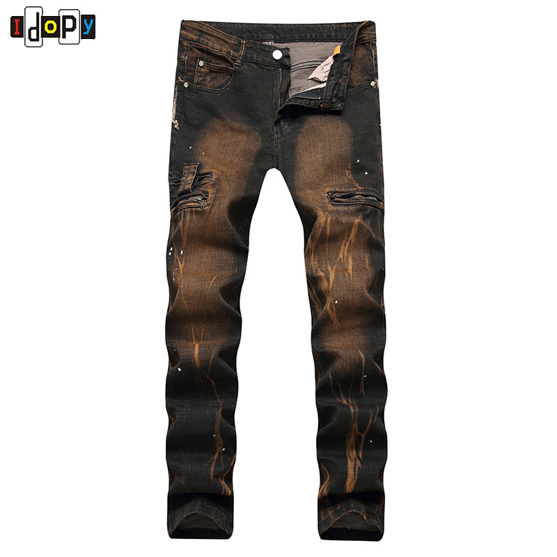 New Mens Jeans  Vintage Washed Elastic Casual Trousers Pants Fashion Trend Yellow Printed Slim Fit Jeans For Men calida elastic trend бюстье розовый