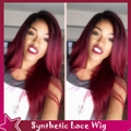 New Arrival Ombre Wig Heat Resistant Synthetic Lace Front Wig Natural Straight Ombre Hair Dark Root Burgundy Color Synthetic Wig