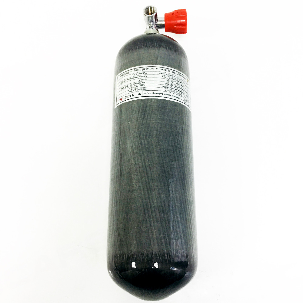 Acecare 4500 psi Paintball Tank 6.8L Carbon Fiber SCBA Air Tank with Red Gauge Valve for Air Gun Hunting or Diving Drop Shipping regulator for paintball tank in 4500 psi for paintball tank or air rifle hunting drop shipping