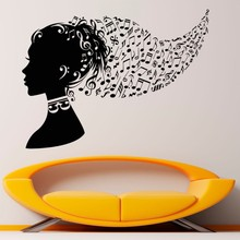 YOYOYU Vinyl Wall Decals Music Notes Art Sticker for Home Decor Bedroom Dorm Living Room Murals Brain filled with music