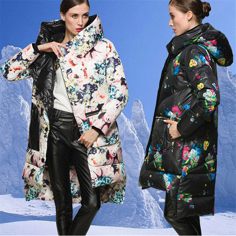 Europe and America Print Floral Cotton Coat Winter Jacket Women CC318