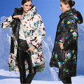 Europe and America Print Floral Plus Size Down Coat Winter Jacket Women D812