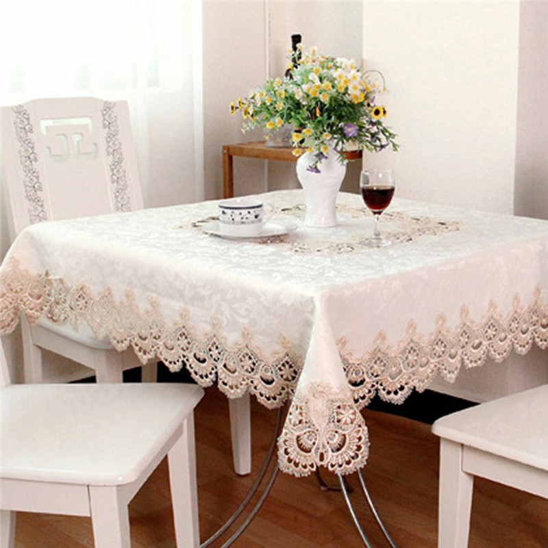coxeer Lace Purfle Table Cover Square Anti-dust Floral Printed Table Cloth Polyester Tablecloth Home Decor For Home Restaurant