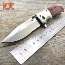 LDT DA51 Folding Knife 8Cr14Mov Blade Rosewood Steel Handle Survival P
