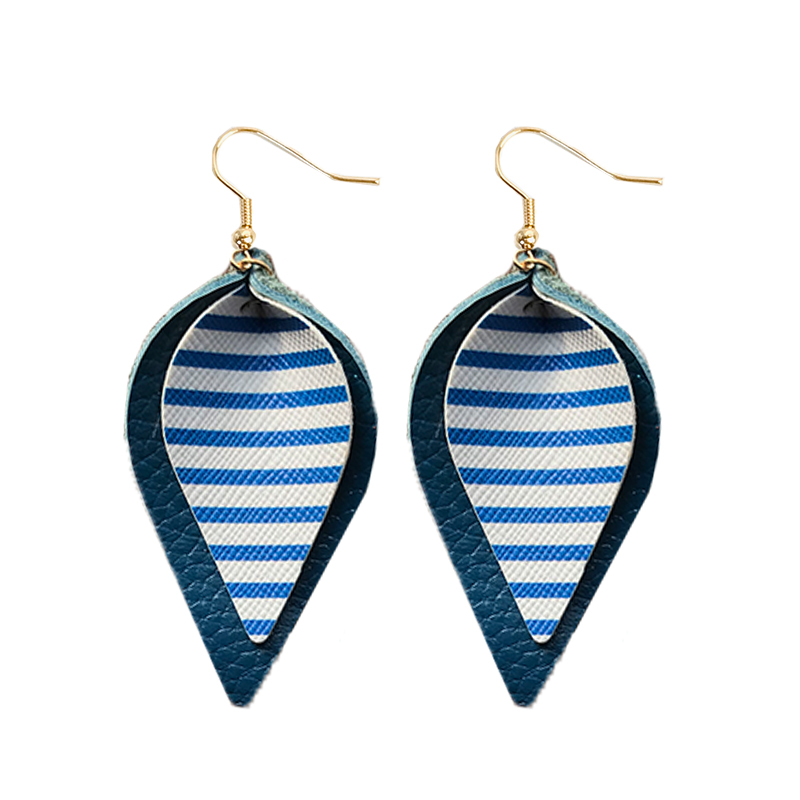 Cpop New Double Layers Zebra Genuine Leather Earrings Creative Leaf Pendant Earrings Fashion Jewelry Women Accessories Gift 2019 in Drop Earrings from Jewelry Accessories