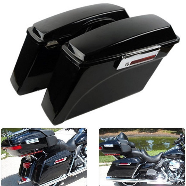Motorcycle Hard Saddlebags Saddle Bag Trunk For Harley HD Softail DYNA Touring Road King Street Electra Glide Ultra ABS 94-13