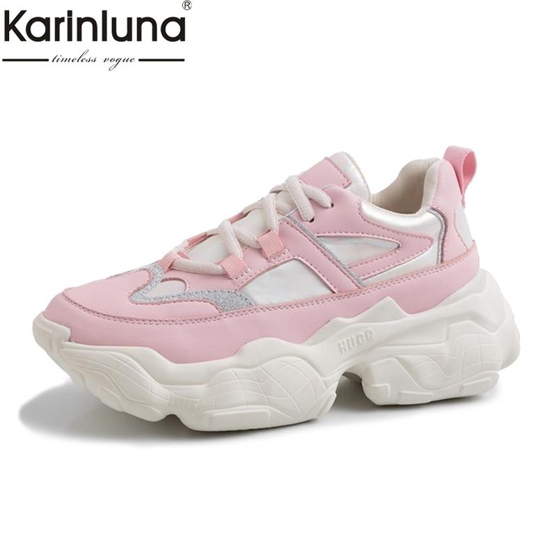 Hot Sale 2019 Large Size 35 42 Fashion Sneakers Woman Shoes Women Flat Platform Pink Shoes Woman Leisure Fashion Chunky Sneakers-in Women's Flats from Shoes    1
