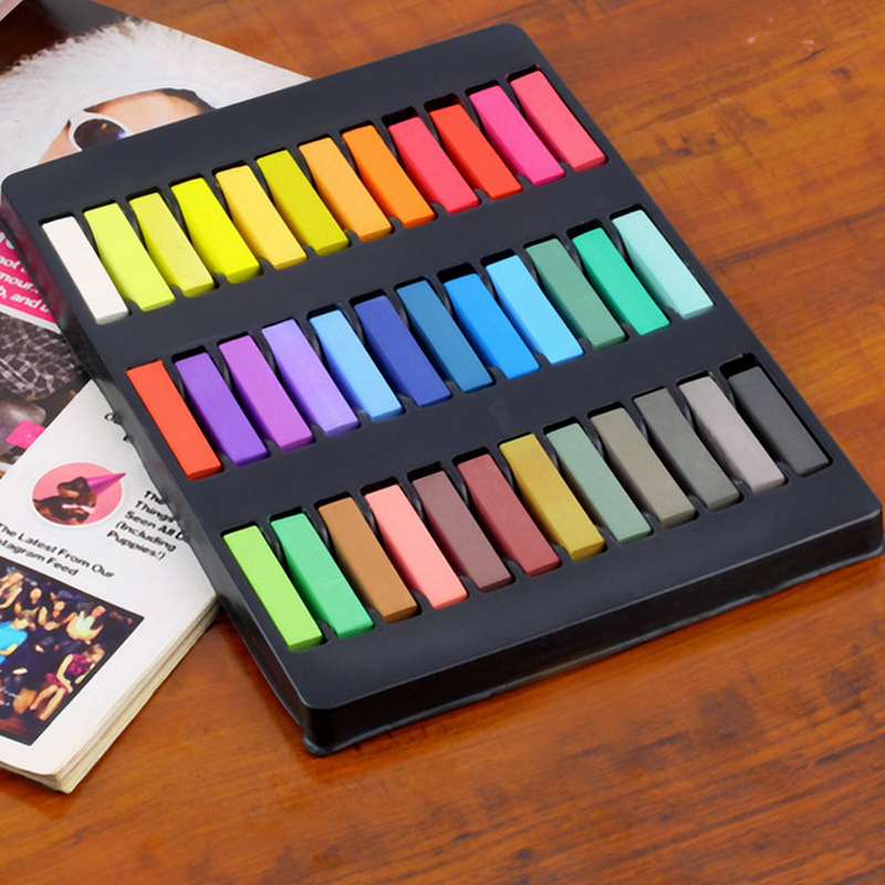 2018 Hot Sale 36 Color Hair Chalk Set Soft Crayons Mungyo Chalk Pastels Easy Temporary Hair Chalk Dye Chalk Pastel Drawings 10pcs pack korea colorful chalk dust free chalk non toxic chalk