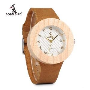 Image 3 - BOBO kuş WC06 Vintage yuvarlak çam ahşap saatler bayanlar lüks marka tasarım kuvars saatler takvim ile hediye kutuları OEM