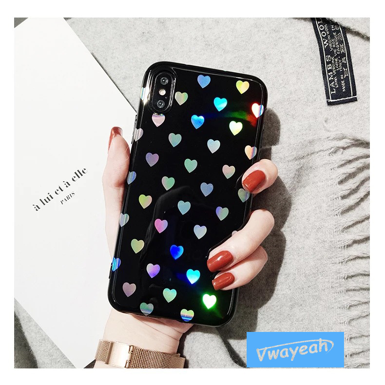 Ins Gradient Little Love Heart Hot Blue Light For iPhone x 10 6 6S 7 8 Plus Mirror Laser Loving Heart Creatively Character Case