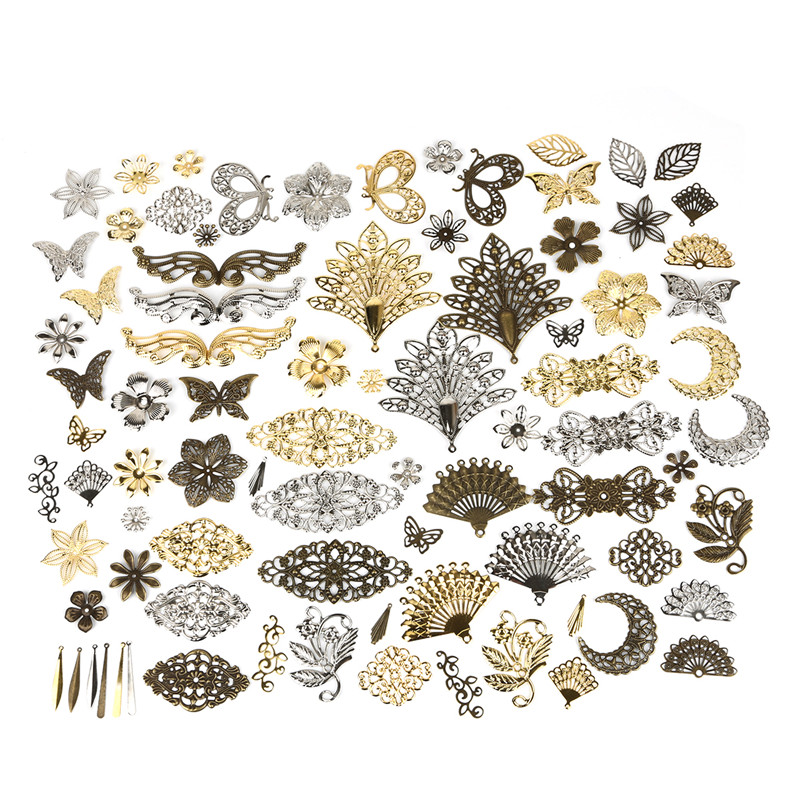 10pcs Moon Butterfly Filigree Flower Wraps Metal Crafts Charms Connectors For DIY Embellishments Scrapbooking Jewelry Accessorie