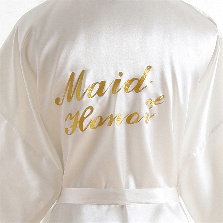 """""""maid Of Honor"""" Für Braut Hochzeit Robe Dressing Kleid Brautjungfer Kosmetische Tragen Fledermaus Ärmel Rayon Kimono Geisha Nachtwäsche Nachthemd Weniger Teuer"""