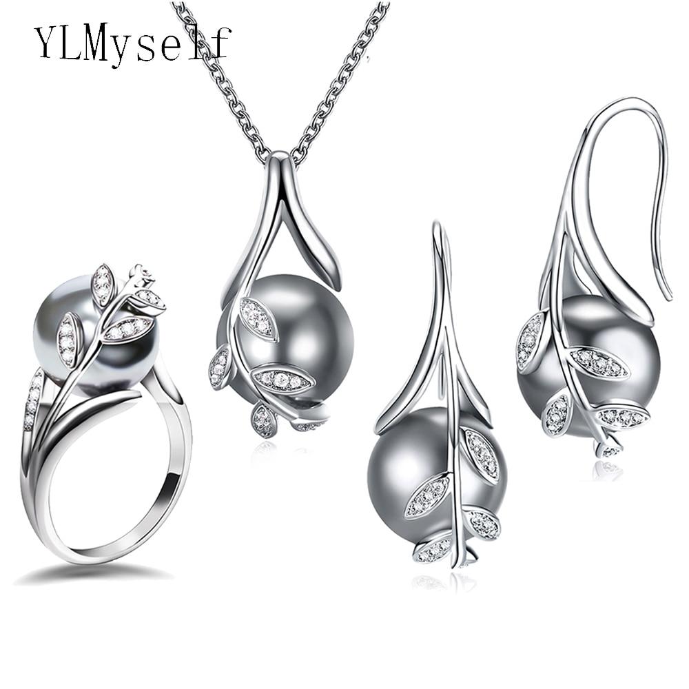 Chaude Belle Suspension Pendentif boucles d'oreilles anneau 3 pcs ensembles Rhodium plaque Gris perle et zircon cubique Mode feuille déclaration bijoux ensemble