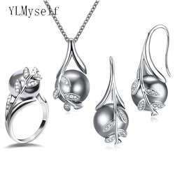 Hot Nice Suspension Pendant earrings ring 3pcs sets Rhodium plate Grey pearl & cubic zircon Fashion leaf statement jewelry set