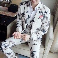 (Куртка + жилет + брюки) Высококачественный брендовый Свадебный костюм жениха с модным принтом костюм для торжеств и сцены мужской повседнев...