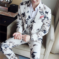 (Jacket + Vest + Pants) High end Brand Fashion Printing Groom Wedding Dress Suit Banquet Stage Performance Suit Mens Casual Suit