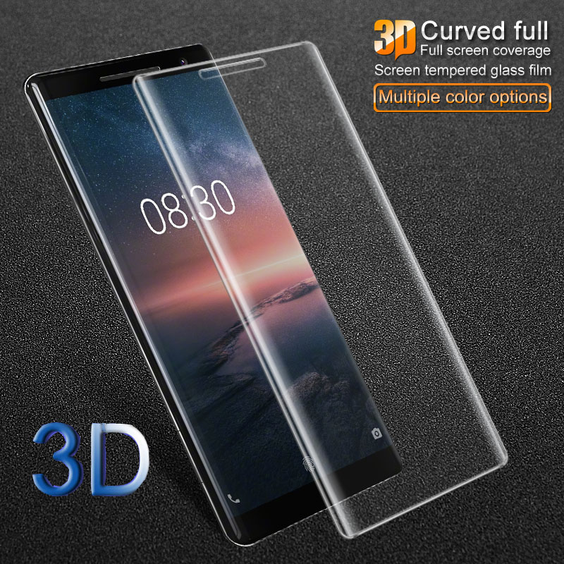 For Nokia 8 Sirocco 3D Curved Edge Full Cover Screen Protector Tempered Glass HD Clear Anti Scratch Wear-resistant 9H Thin Film nokia 8 new 2018