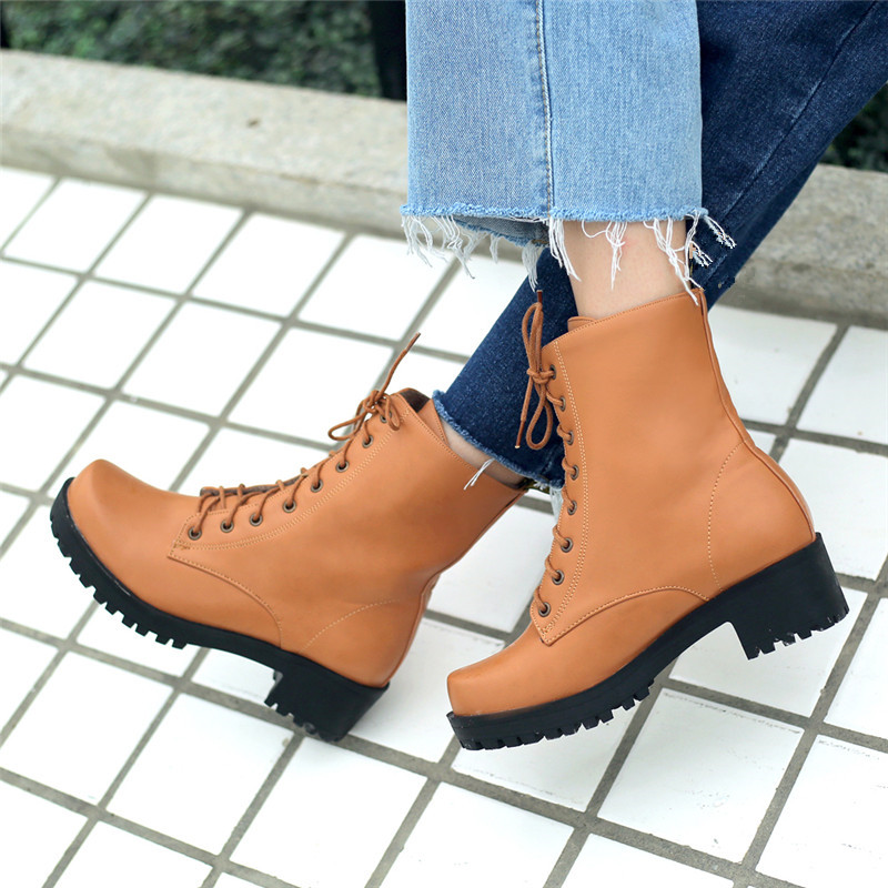 YMECHIC 2018 Black Autumn Lace Up Platform Ankle Combat Boots Women Punk Block  Chunky Heels Gothic Motorcycle Boots Plus Size-in Ankle Boots from Shoes on  ... d3cb172a3346
