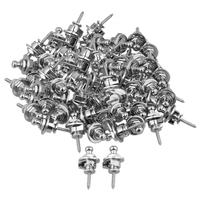 Yibuy 60 Pieces Chrome Plating Round Head Strap Locks for Electric Guitar