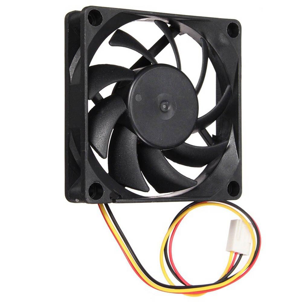Quiet 7cm/70mm/70x70x15mm 12V Computer/PC/CPU Silent Cooling Case Fan For Radiator Mod aerocool 15 blade 1 56w mute model computer cpu cooling fan black 12 x 12cm 7v