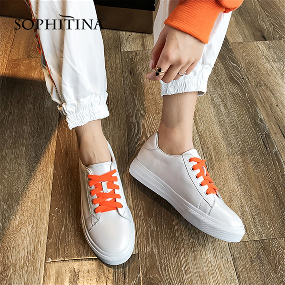SOPHITINA Comfortable Loafers Flats Round Toe Cross tied High Quality Genuine Leather Shoes Special Shoelace Sports