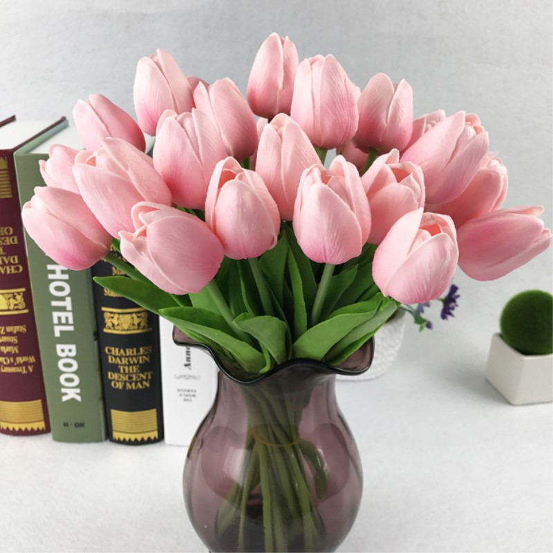 11PCS/31PCS PU Artificial Tulip Flower Real Touch DIY Wedding Decoration Flowers Bouquet Artificial Flowers for Home Party Decor ...