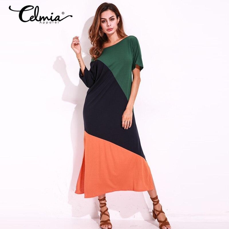Florho 2017 Women Sexy Long Dresses Color Patchwork Summer T shirt Dress Ladies Short Sleeve Off Shoulder Split Shift Maxi Dress