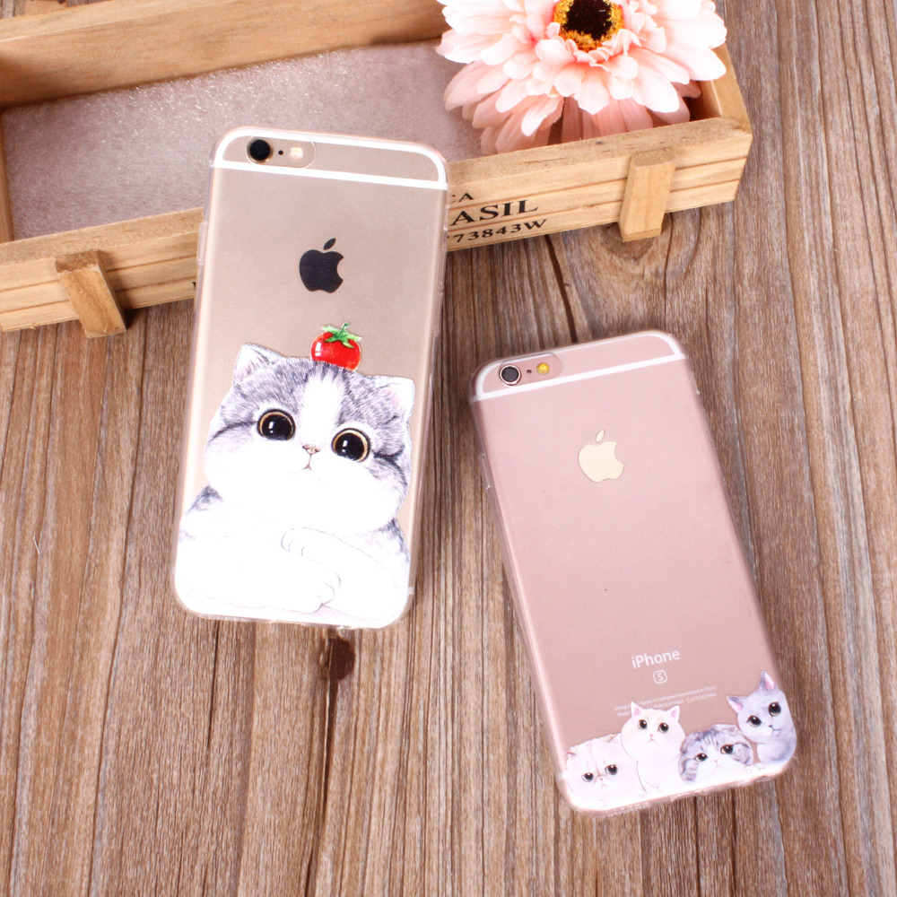 cute cats phone cases for iphone 6 6s 7 8 7plus 8p 5 5s se 6plus 6splus funny cat animals clear. Black Bedroom Furniture Sets. Home Design Ideas