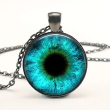 2017 New Round Photo Jewelry Dragon Eye Necklace Cat Eyes Pendant Glass Dome Necklaces Silver PendantsHZ1