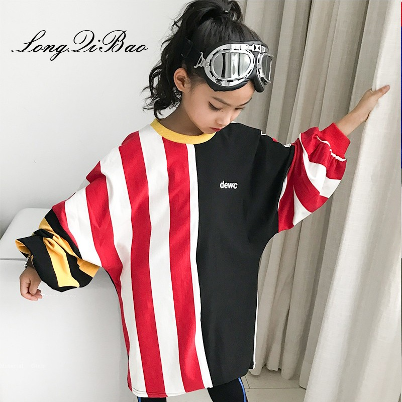 Girls Sweater 2018 Autumn Out of the Big Boy Children's New Contrast Long Sleeve Round Neck Fashion Ocean Stripe Sweater geometric spliced print round neck long sleeve sweater