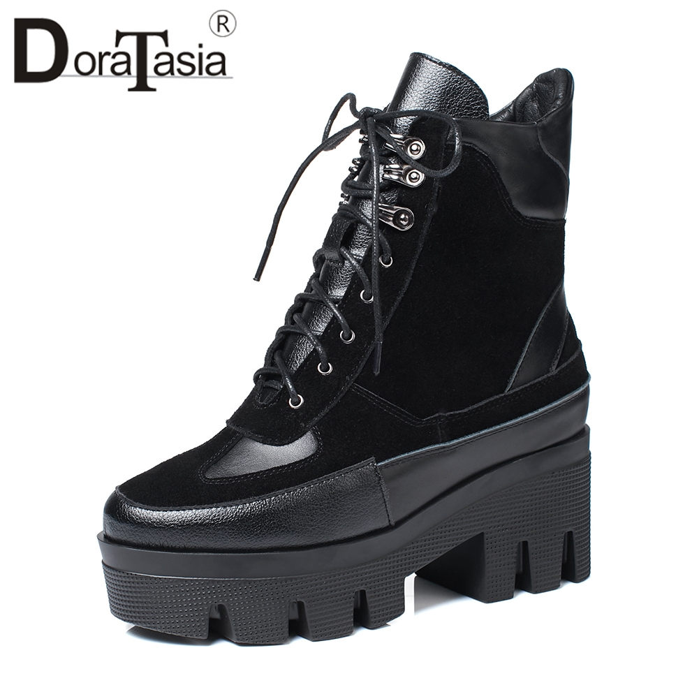 DORATASIA 2019 Spring New Brand Quality Genuine Leather Ankle Platform Matin Boots Women lace-up High Heels Shoes Woman 34-42DORATASIA 2019 Spring New Brand Quality Genuine Leather Ankle Platform Matin Boots Women lace-up High Heels Shoes Woman 34-42