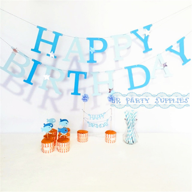 10 Set BIRTHDAY Decorations DIY HAPPY Banners Garland Fish Cake Topper Paper Drinking Straws Baby Boy Blue Party Decor