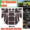 18cs/set Anti slip Tür Nut Matte Grid Gummi Abdeckungen Tor Slot Matte Kissen Pad Tasse Matte Staub  wasser für Hyundai KONA Auto Styling| |   -