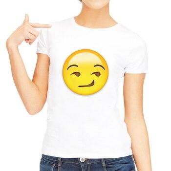 Smirking Face Emoji T Shirt Funny Cool Women Tshirts Clothes 2018 Summer Tops Plus Size Cute Shirt Short Sleeve Casual Tee